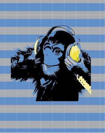 Animal orangutan music vector