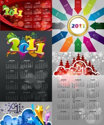 free vector 2011 color calendar template vector