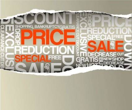 Torn paper with letters and other vector sale