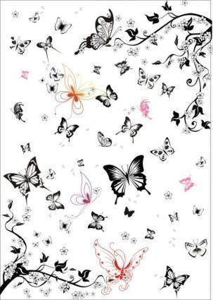 free vector The super multi black and white butterfly vector set