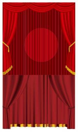 free vector Vector red curtain
