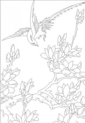 free vector Birds in the branches around the