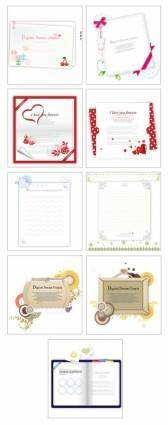 free vector 9 lovely greeting cards stationery vector