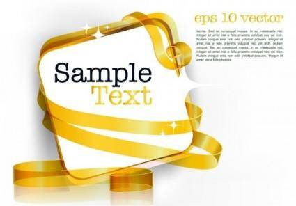 Decorative ribbon design template vector 3 text