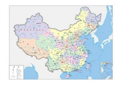 Map of china fourcolor vector