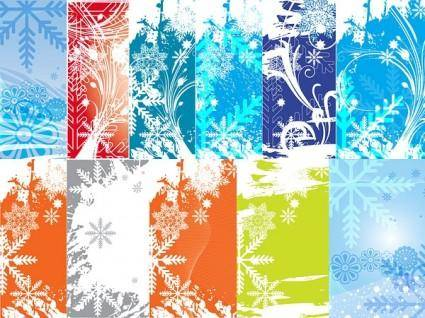 Variety of snowflake theme vector