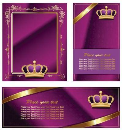 Crown lace ribbon card vector