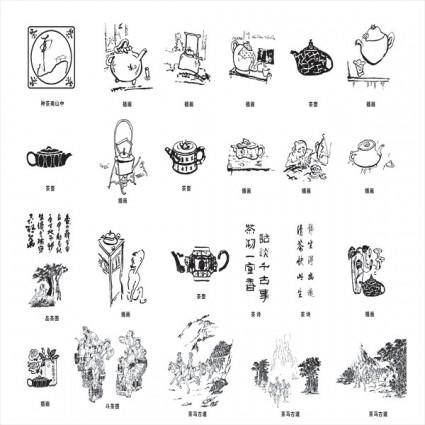 Vector elements of the tea culture
