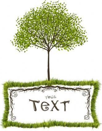 free vector Green trees vector text box
