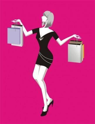 free vector Vector fashion woman shopping