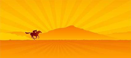 free vector Sunset vector equestrian
