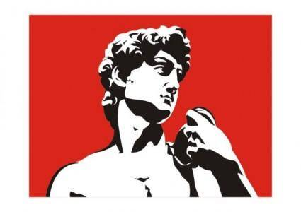 free vector The david portrait black and white and red vector illustration