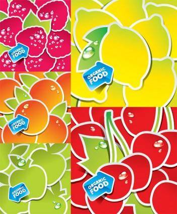 free vector Vector lovely fruit stickers