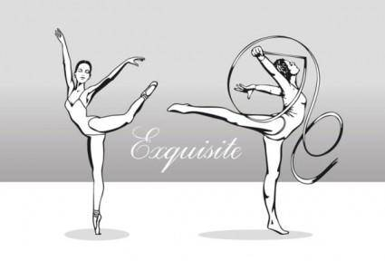Beautiful artistic gymnastics vector