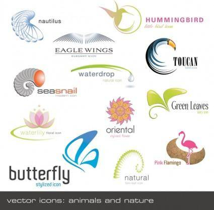 free vector Animals plants shape logo template vector