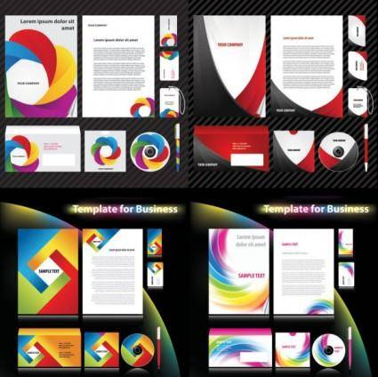 4 sets of dynamic enterprise vi template vector