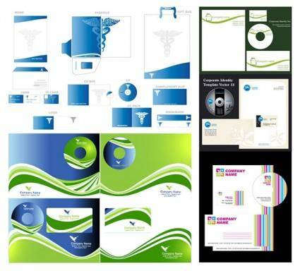 free vector 5 sets of simple business vi template vector