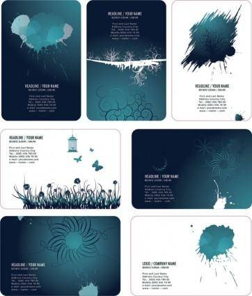 Beautiful ink style card template vector