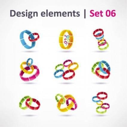 Exquisite threedimensional color logo 01 vector