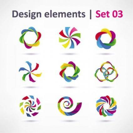 Beautiful color threedimensional logo 02 vector