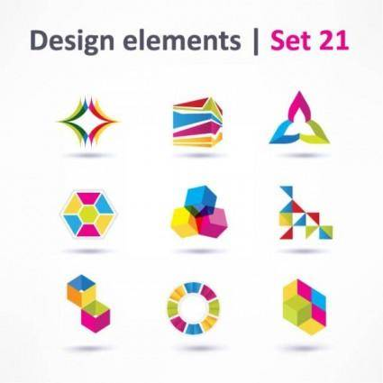 Beautiful color threedimensional logo 03 vector
