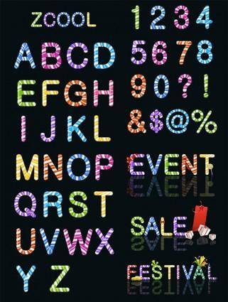 free vector Candy colored letters and numbers vector