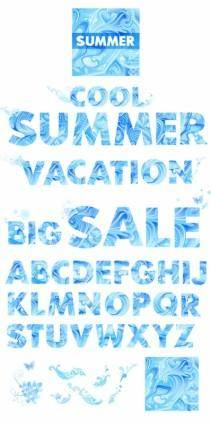 free vector Vector blue summer letters