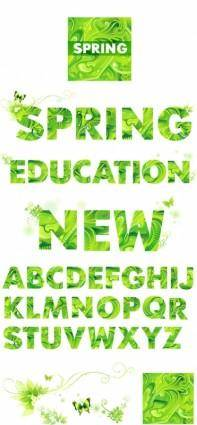 free vector Vector spring green letters