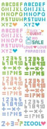 Pixelstyle letters and numbers vector
