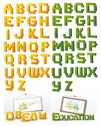 free vector Threedimensional building block type letters vector