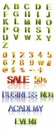free vector Threedimensional letters and figures vector