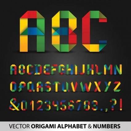 free vector Colorful origami letters and numbers vector