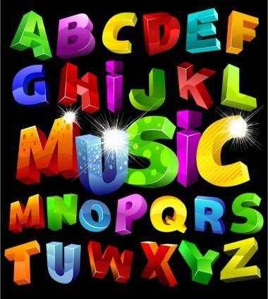 free vector Colorful threedimensional letters vector