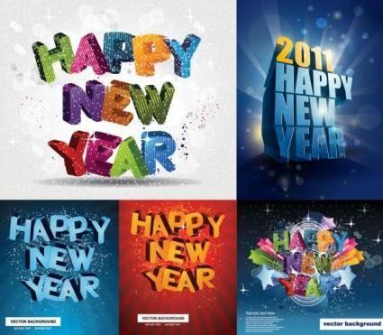 free vector Happy new yeardimensional vector