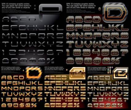 free vector Variety of effects alphabetical vector