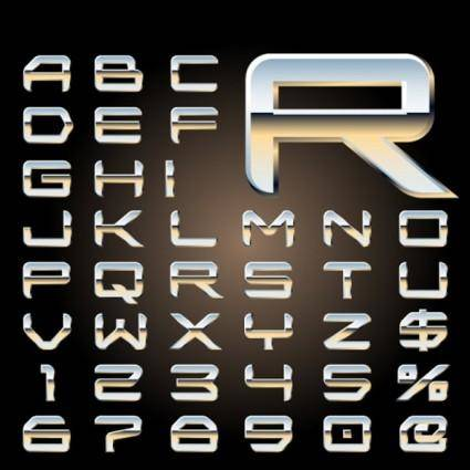 free vector Metal threedimensional letters design series 08 vector