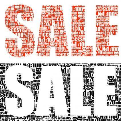 free vector Vector text piled sale