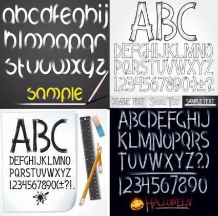 free vector Handdrawn style of the english alphabet vector