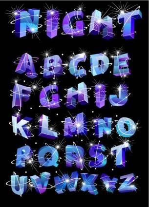Threedimensional vector alphabet flash