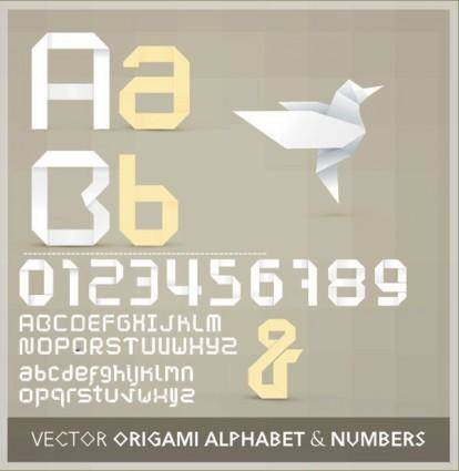 Origami ribbon 26 english letters and numbers vector 2
