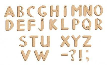 free vector Vector fonts wood grain english