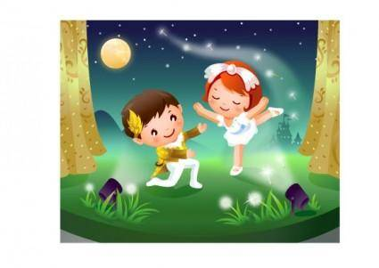 free vector 2 children dancing motion vector