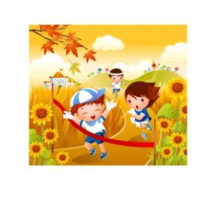 free vector Children running motion vector