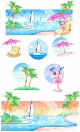 free vector Summer style handdrawn style vector series 3