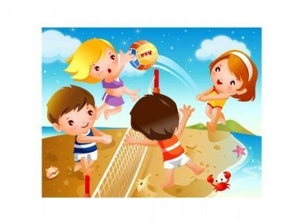 free vector Happy children beach volleyball motion vector