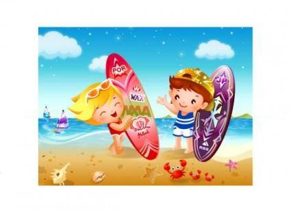 free vector Children beach surfing vector