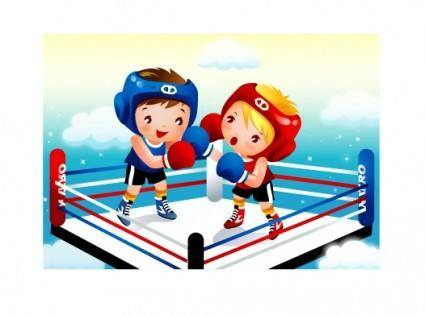free vector Children boxing vector