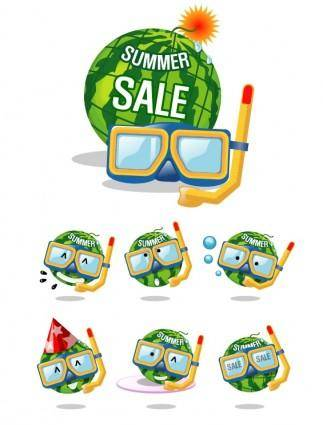 Wearing goggles watermelon vector