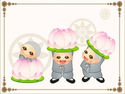 Vector cute little monk with lotus