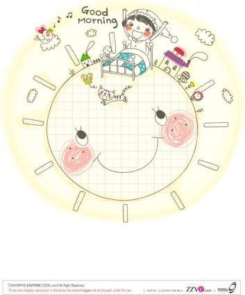 free vector Korea cute line drawing vector 2 family